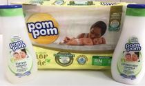 Fralda RN,  shampoo e condicionador Pompom - Kit chá de bebê - Pom Pom