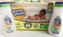 Fralda RN,  shampoo e condicionador Pompom - Kit chá de bebê -