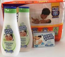 Fralda tamanho P, shampoo, condicionador e sabonete em barra. Kit chá de bebe IV. - Pompom