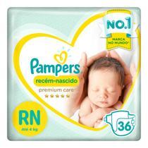 Fraldas Pampers Recém-Nascido Premium Care RN 36 Unidades -