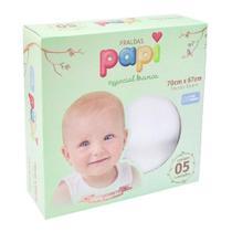Fraldas Papi Especial Branca Caixa com 5 unid com bainha e tecido duplo Algodão -