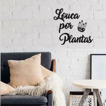 Frase De Parede Louca Por Plantas Aplique Decorativo Mdf Preto Letras Palavras Cactos - Mongarte Decor
