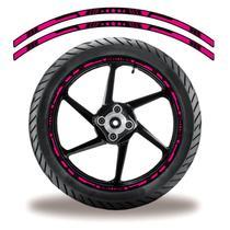Friso de roda adesivo refletivo estrela rosa e preto - Cobra Motoparts