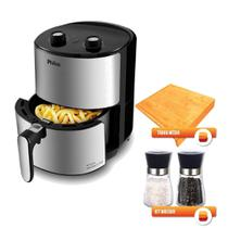 Fritadeira Air Fryer Philco 3,2L Inox 127V com Kit Churrasco Bela Home (2 moedores 180ml e 1 Tabua Media) -