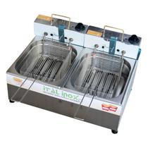 Fritadeira Elétrica Industrial 2 Cubas De 5 Litros Com Óleo - Ital Inox (110v) -