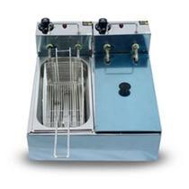Fritadeira Elétrica Industrial 6 Litros 2 Cubas  3 litros cada 110v 5000w - Gomes Inox