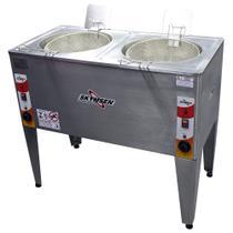 Fritadeira Elétrica Inox de Piso Reativada Água e Óleo 2x 8000W FRP-24D 2 Cubas Skymsen Capacidade 24L de água e 14 L de óleo por Cuba - Siemsen
