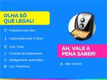 Fritadeira Elétrica sem Óleo/Air Fryer Mondial - Grand Family Inox AFN-50-BI Preto 5L com Timer