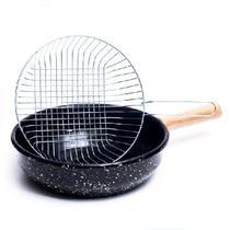 Fritadeira esmaltada com cesto cromado -  26cm - Arasul/Asul Ind