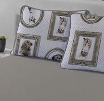 Fronha avulsa 1 peça de Malha 100% algodão Infantil Pets Gato e Cachorro Edromania -