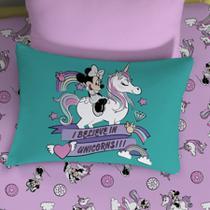 Fronha Avulsa Portallar Malha Estampa Localizada Disney Joy Minnie e Unicórnio -