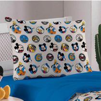 Fronha Avulsa Portallar Malha Estampada Disney Amigos do Mickey Azul -
