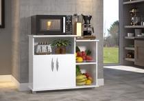 Fruteira Balcão 2 Portas Chão Cozinha Tampo Branco Rodas - Clickforte