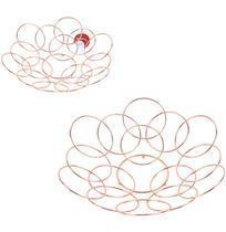 Fruteira / cesta de mesa aramado redonda circulos metalizado cobre / rose 32cm de ø - Wellmix