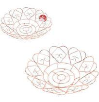Fruteira / cesta de mesa aramado redonda coracao metalizado cobre / rose 30cm de ø - Wellmix
