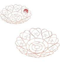 Fruteira / cesta de mesa aramado redonda coracao metalizado cobre / rose 30cm de - Wellmix -