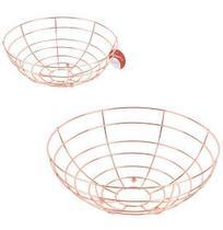 Fruteira / cesta de mesa aramado redonda metalizado cobre / rose 27cm de ø - WELLMIX