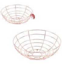 Fruteira / cesta de mesa aramado redonda metalizado cobre / rose 27cm - Wellmix