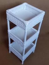 Fruteira Cesto Organizador Fibra Sintética 3 Andares 30x80 Branco - Artesanato com Fibra
