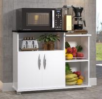 Fruteira Chão 2 Portas Armário Cozinha Branco Com Preto Microondas Água - Clickforte