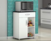 Fruteira Chão Armário para colocar Microondas ou Galão Bebedouro Cozinha Com rodinhas, Uma porta Uma gaveta - Lar Decorado