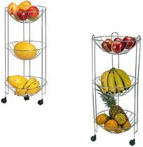 Fruteira de chao aramado com 3 andares + rodinha 69x29cm - Arthi