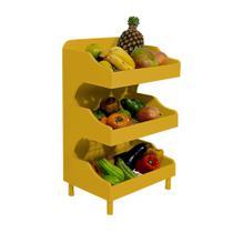 Fruteira de Chão com Pé Porta Legumes para Cozinha em Madeira com 3 Prateleiras Amarelo Laca - Formalivre