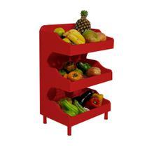 Fruteira de Chão com Pé Porta Legumes para Cozinha em Madeira com 3 Prateleiras Vermelho Laca - Formalivre