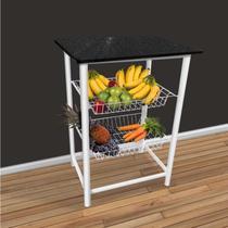 Fruteira de chão de cozinha Bady para microondas Branca -