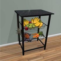 Fruteira de chão de cozinha Bady para microondas Preta -