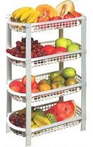 Fruteira De Chão Organizador De Plástico Multiuso 4 Cestos - São Bernardo