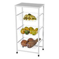 Fruteira de Chão Para Cozinha 3 Andares Cesto Branca Plus - MetalCromo