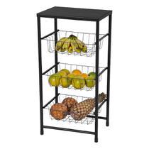 Fruteira de Chão Para Cozinha 3 Cestos Andares Preta Plus - MetalCromo