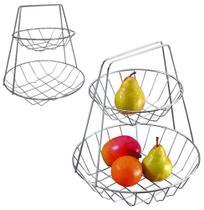 Fruteira de mesa aramado cromado 2 andares 31x29,5cm - Aramados -
