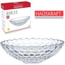 Fruteira de mesa de vidro redonda relevo bubles hauskraft 7,5x23,5cm de ø na caixa -