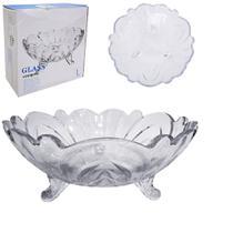 Fruteira de mesa de vidro redonda relevo com pe 23cm de ø na caixa - Dagia