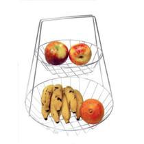 Fruteira De Mesa Dupla Estilosa Cromada Design Dois Andares - Matrinox