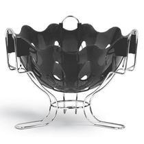 Fruteira de mesa preta com base cromada - niquelart -