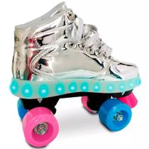 Fun Patins com Led 4 Rodas Prata 35 a 36 - Fun Toys