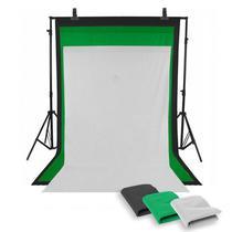 Fundo Fotográfico Completo Branco Preto e Verde c/ Suporte e Tripés - Tudoprafoto