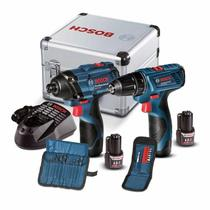 Furadeira e Parafusadeira GSR 120-LI + Chave de Impacto GDR 120-LI com Maleta de Aluminío + 2 Kits B - Bosch