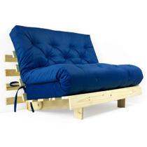 Futon Casal Tokio Sofa Cama Azul Royal Com Madeira Maciça - R9 Design Futon