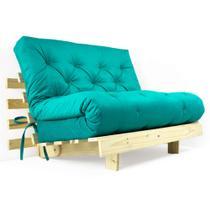 Futon Casal Tokio Sofa Cama Azul Turquesa Com Madeira Maciça - R9 Design Futon