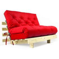 Futon Casal Tokio Sofa Cama Vermelho Com Madeira Maciça - R9 Design Futon