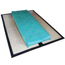 Futon Solteiro Dobrável Oriental Confort Plus Azul Turquesa - R9 design futon