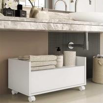 Gabinete Armário Banheiro 60 cm c/ Rodízios Multimóveis Branco -