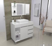 Gabinete / Armário Banheiro Fit Supreme 97 cm - Branco - Gabinetto