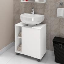 Gabinete Armário Banheiro Para Pia de Coluna Pequin Branco - Móveis Bechara