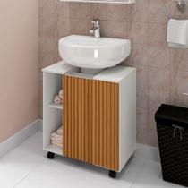 Gabinete Armário Banheiro Pia de Coluna Pequin Branco Ripa - Móveis Bechara