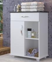 Gabinete Armário Para Banheiro 1 Porta Base Preta Produtos Banho - Clickforte